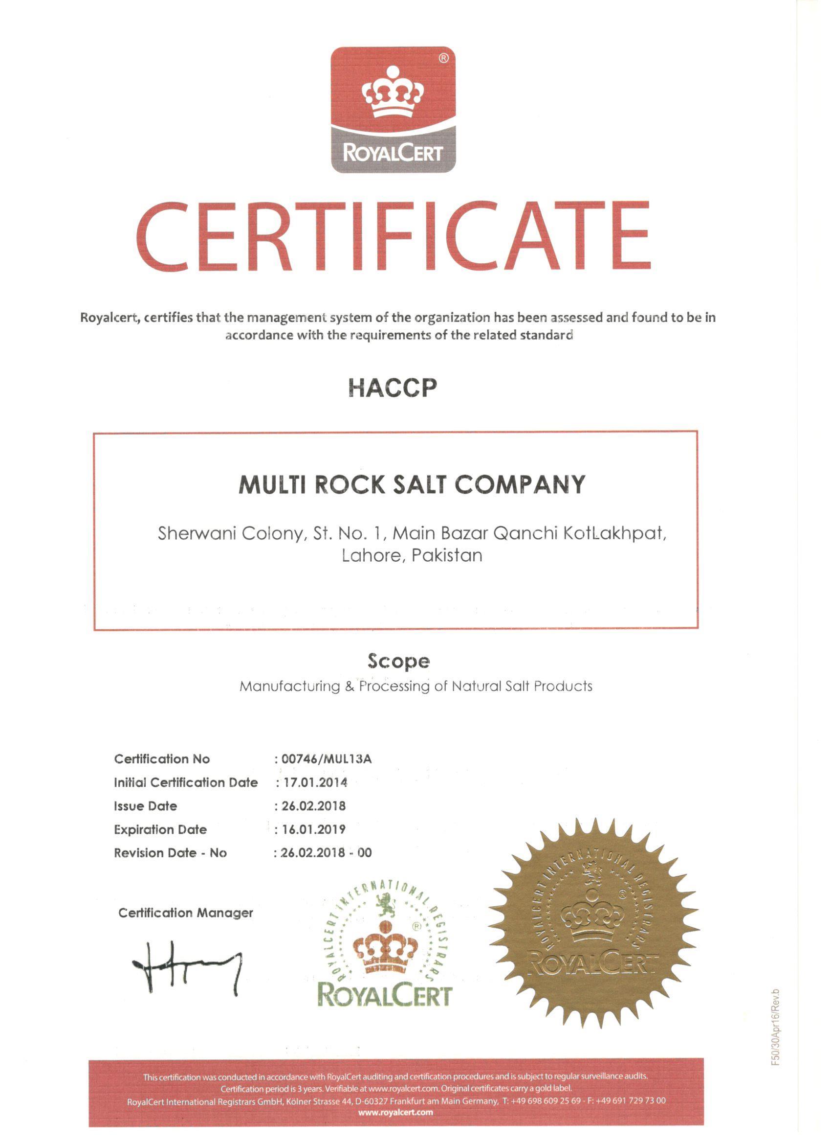 Certification | Multi Rock Salt Company